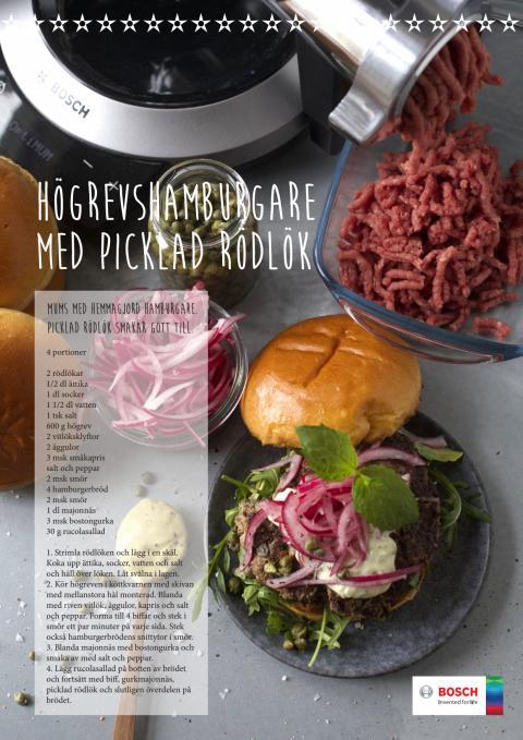 Högrevshamburgare med picklad rödlök