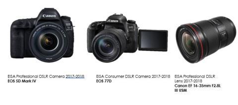 Canon bedöms som klassledande i 2017 års EISA-utmärkelser