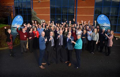 Cheers! Fred. Olsen Cruise Lines' staff raise a toast to the end of a successful 2018