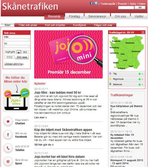 Skånetrafikens webbplats har fått nytt utseende