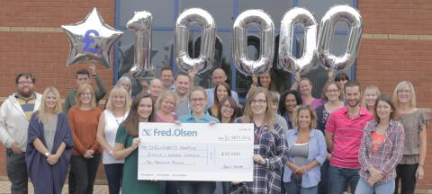 Fred. Olsen staff raise £10,000 for three local charities: St. Elizabeth Hospice, East Anglia's Children's Hospices and Inspire Suffolk