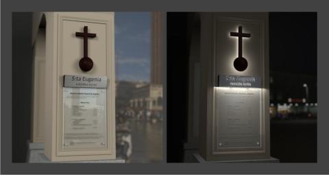 Informativt, modernt skyltkoncept i klassisk tappning – St. Eugenia Katolska församling