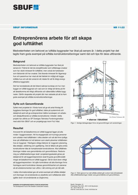 SBUF Informerar, nr. 11-22 Entreprenörens arbete för att skapa god lufttäthet
