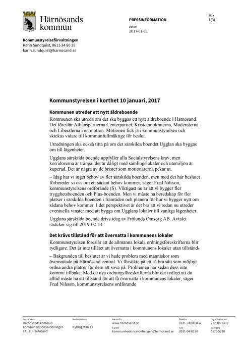 Kommunstyrelsen i Härnösand i korthet den 10 januari 2017
