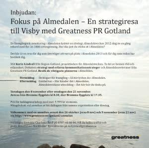 Inbjudan: Fokus på Almedalen – En strategiresa till Visby med Greatness PR Gotland