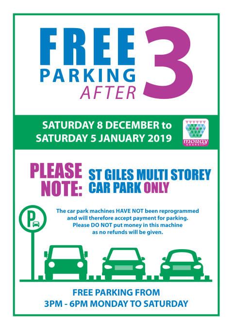 Free after 3 returns to St Giles Centre car park