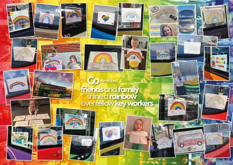 Go North East friends and family shine a rainbow over fellow key workers