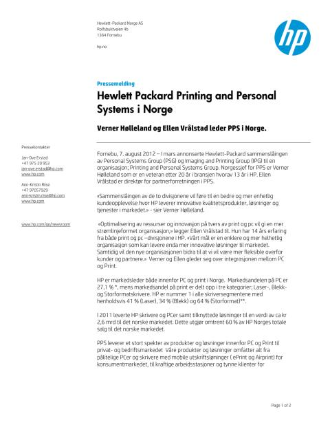 PDF pressemelding: HP Printing and Personal Systems i Norge