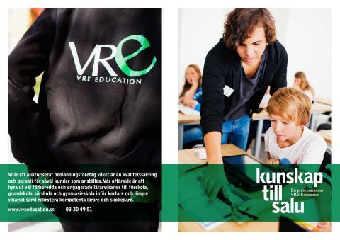 VRE Educations företagsbroschyr uppslagsformat