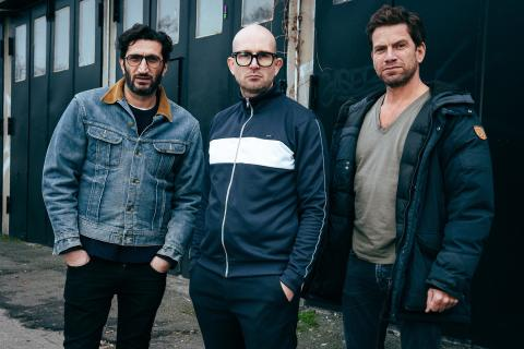 1)Nikolaj Lie Kaas, instruktør Christoffer Boe og Fares Fares. Fotograf: Zentropa, Henrik Ohsten