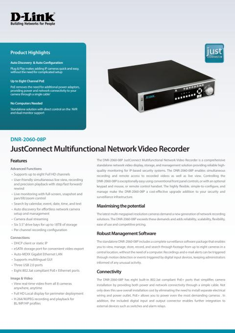 Produktblad, JustConnect NVR, DNR-2060-08P