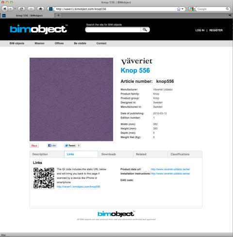 Knop 556 fabrics and textiles from Uddebo Weaveri - screenshot from BIMobject Portal