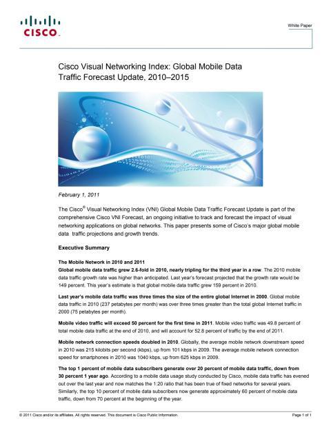 Ciscos mobila trafikrapport