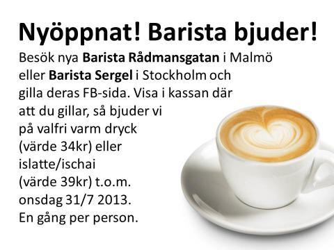 Barista bjuder på GRATIS fika på nyöppnade coffee shops i Malmö och Stockholm. Se bild.
