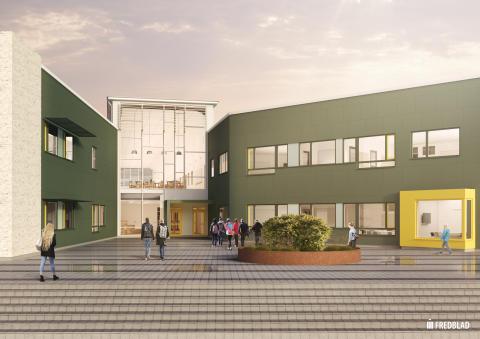 Entrén till Kärlekens skola i Halmstad.
