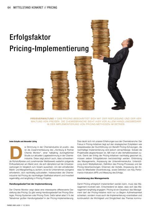 """""""Erfolgsfaktor Pricing-Implementierung"""": Artikelveröffentlichung von Alexander Lüring und Ineke Schydlo in der FARBE UND LACK"""