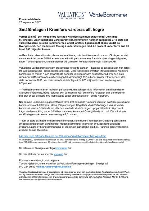 Värdebarometern 2017 Kramfors kommun