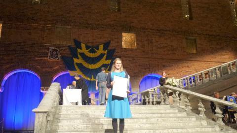 Julia Greek under Gesäll- och mästarbrevsutdelningen 2016.