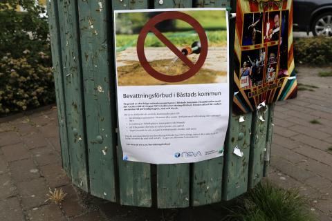 Dricksvattenförbrukningen i Båstads kommun ökade söndagen den 8 juli