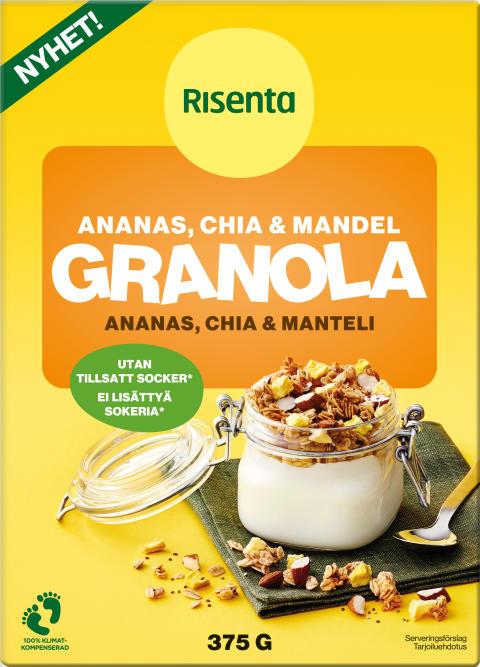 RISENTA GRANOLA ANANAS, CHIA & MANDEL 375 G