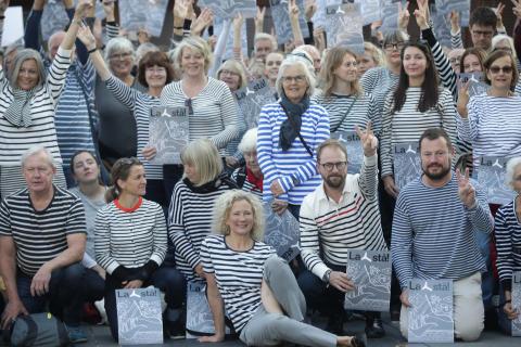 Protestors in stripes