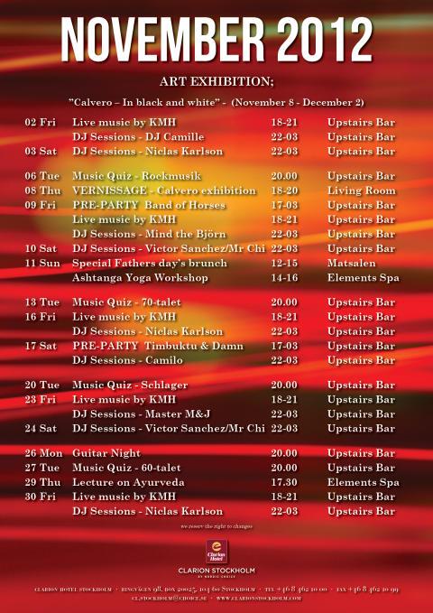 Eventkalender november - Clarion Hotel Stockholm