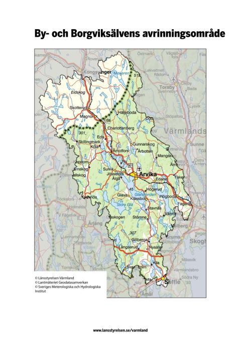 Karta över By- och Borgviksälvens avrinningsområde