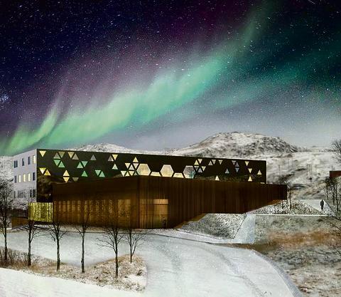 Illustrasjon av nye Baksalen skole i Hammerferst