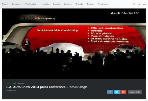 LA Auto Show - følg med i Audi's nyheder på Audi MediaTV