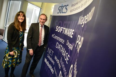 Northumbria University degree apprentice Jennifer Gane pictured with John Wiseman, director of STCS Ltd, which employs three degree apprentices