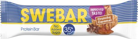 Nu blir Swebar Crunchy Caramel ännu godare och utan tillsatt socker!