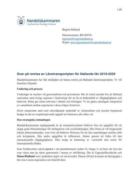 Svar på remiss av Länstransportplan för Hallands län 2018-2029