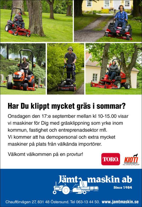Maskinvisning 17:e september hos vår Semipro återförsäljare i Östersund!