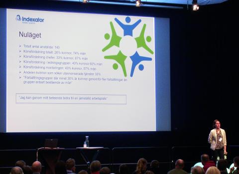 Linda Lönnerskog på Indexator berättade om deras jämställdhetsarbete.