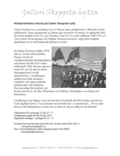 Arbetarrörelsens historia på Galleri Skeppsta hytta