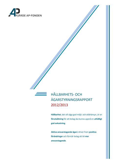 Hållbarhets- och ägarstyrningsrapport 2012/2013