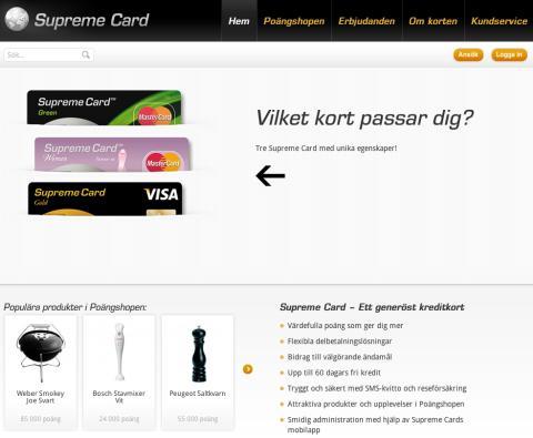 Supreme Card lanserar ny hemsida med webb-baserad poängshop