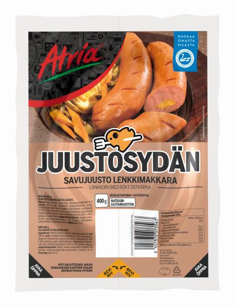Atria Savujuustosydän Lenkkimakkara 400g