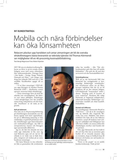 """Tidningen ERA: """"Relacom plockar upp handsken och antar utmaningen att bli de svenska elnätsföretagens bästa leverantör av tekniska tjänster"""""""