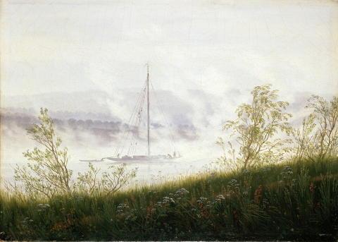 Alene med naturen. Caspar David Friedrich, Elvebåt i morgentåke, 1822