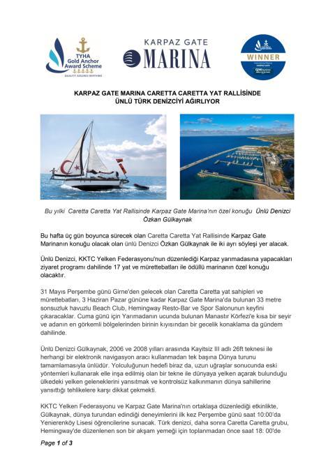Karpaz Gate Marina Caretta Caretta Yat Rallisinde