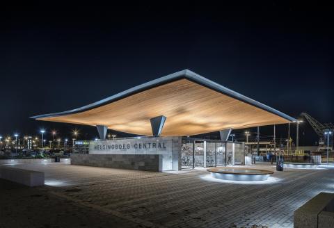 SÖDRA ENTRÉN (KNUTPUNKTEN, HELSINGBORGS CENTRAL) kan vinna designpriset Design S. Visas på ArkDes 11 okt-27 nov.