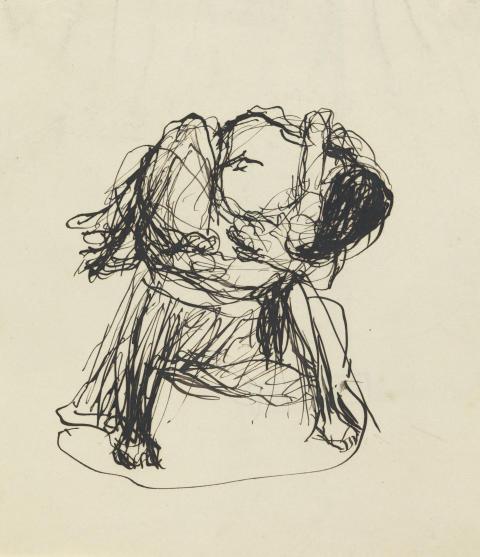 Gustav Vigeland: Skisse Mann med kvinne i fanget (tegning)