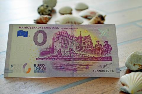 beliebtes Kieler Souvenir - 0€ Geldschein zum Matrosenaufstand