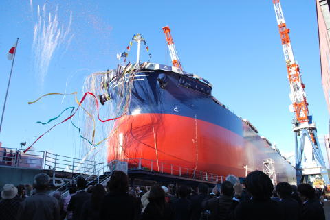 Launching ceremony at TSUNEISHI SHIPBUILDING  in June (Japan)