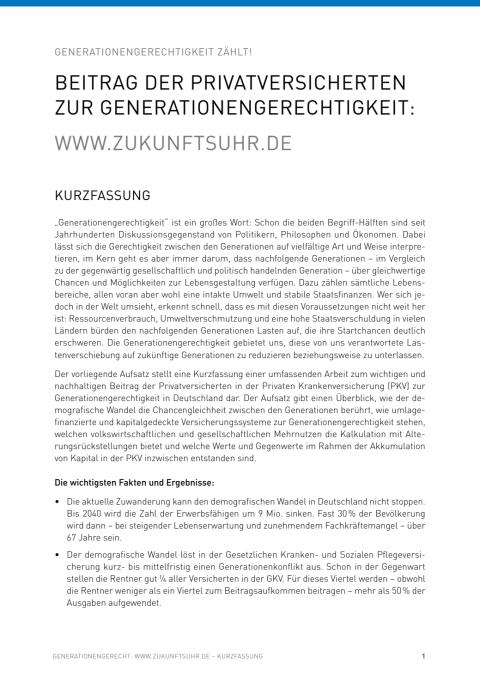 Zukunftsuhr - Aufsatz zur Genereationengerechtigkeit (Kurzfassung)