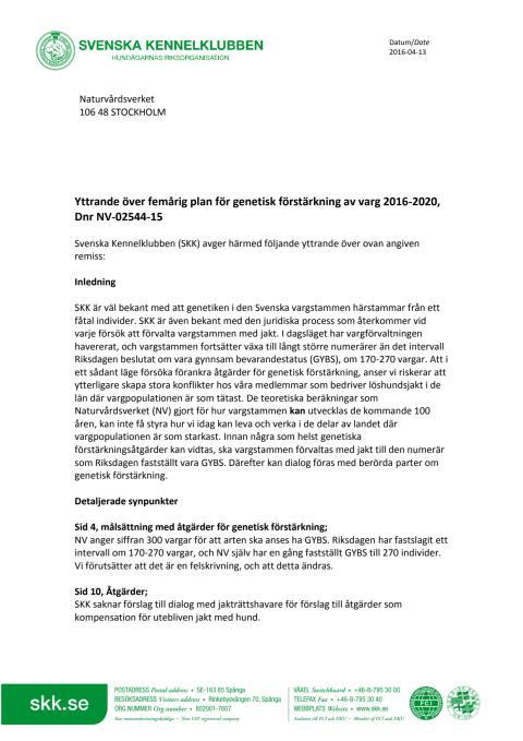 Remissvar på Naturvårdsverkets förslag om genetisk förstärkning av vargstammen