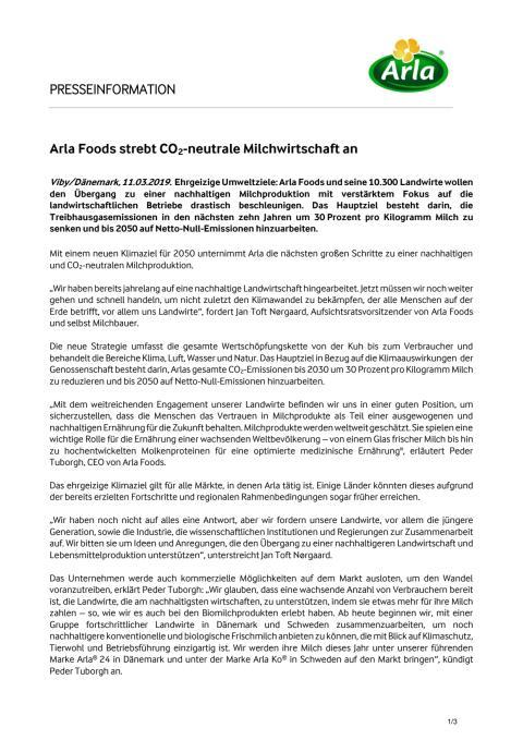 Arla Foods strebt CO2-neutrale Milchwirtschaft an