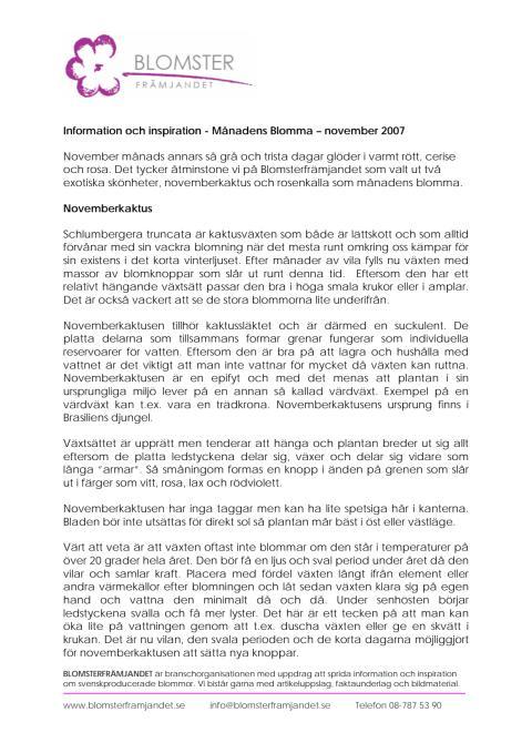 Information och inspiration - Månadens Blomma – november 2007