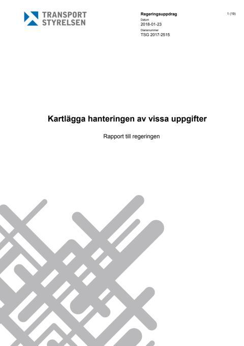 Rapport: Kartlägga hanteringen av vissa uppgifter